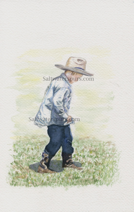 new artwork, young, boy, cowboy, ranch, boots,