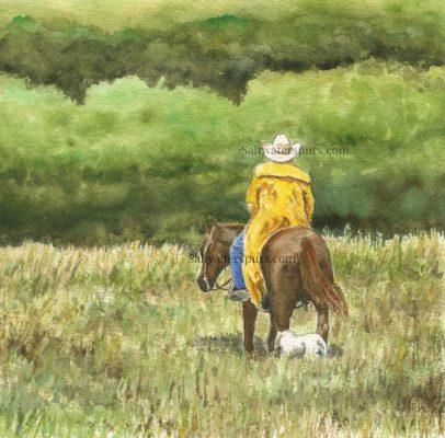 """Rainy Day Rancher"" </br> Original Watercolor    8"" x 8"""