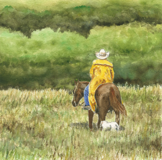 Cowboy, cow, Boy, dog, ranch, horse, rain, new artwork