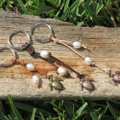 Leather and Pearl Turtle Keyrings
